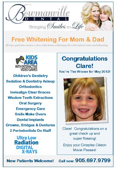 Clare Hambly, Bowmanville Dental Winner May 2012