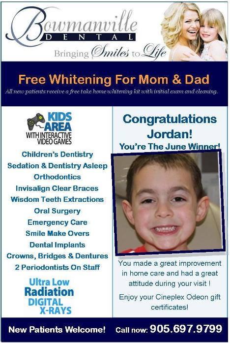 Bowmanville Dental kids corner winner July 2012