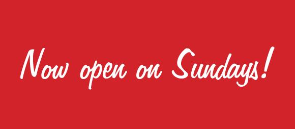 Now open Sundays