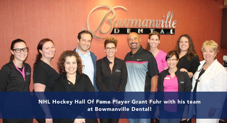 Grant Fuhr and his team at Bowmanville Dental team