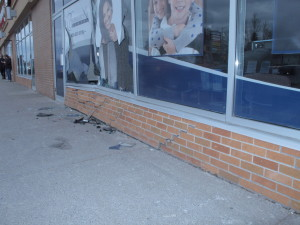 car drives in to bowmanville dental at the bowmanville mall 1