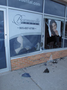 car drives in to bowmanville dental at the bowmanville mall 3