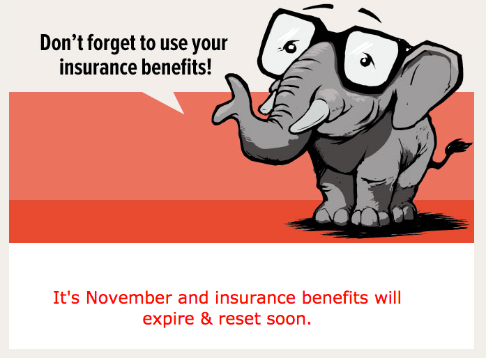 cartoon elephant reminder to use dental benefits before they expire